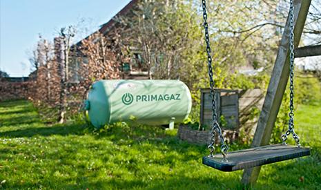 Tank Primagaz in de tuin